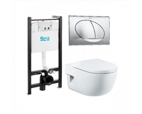 Комплект Roca Meridian Compact 893104110 унитаз подвесной, сиденье, инсталляция, клавиша смыва