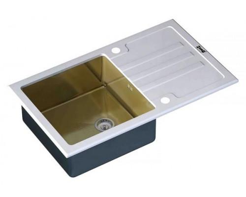 Мойка для кухни ZorG Inox Glass GL-7851-WHITE-BRONZE