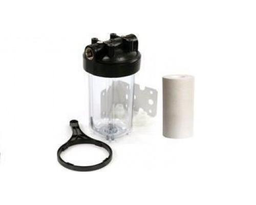 Магистральный фильтр Аквастиль  10 ВВ с катриджем (Прозрачная колба)
