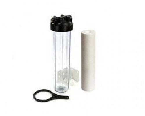 Магистральный фильтр Аквастиль  20 ВВ с катриджем (Прозрачная колба)