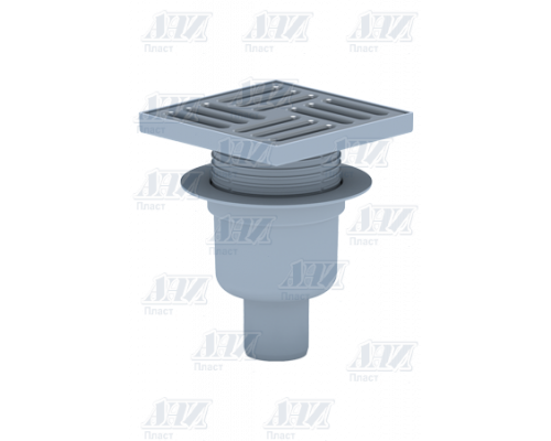 TQ5712 Трап вертикальный регулируемый, с выпуском 50 мм, металлическая решетка 15х15 см. Сухой трап.