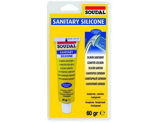 Герметик силикон санитарный бесцветный 60 мл Soudal