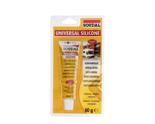 Герметик силикон универсальный бесцветный 60мл  Soudal