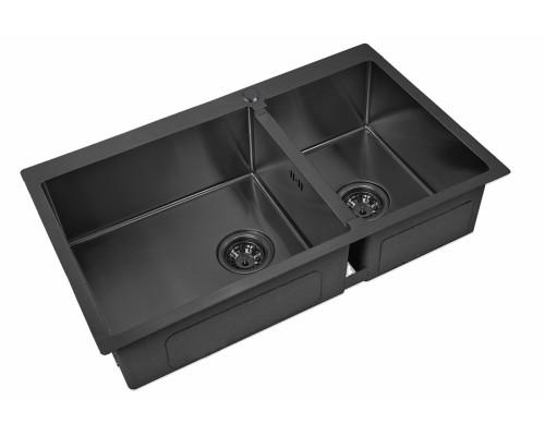 Мойка для кухни ZorG PVD 78-2-51-L GRAFIT Steel Hammer цвет графит