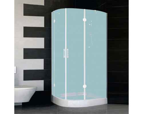 AFS-F 11080 01 10R Vegas AFS-F Душевой уголок асимметричный, в правый угол, размер 110x80 см., стекло сатин, профиль белый.