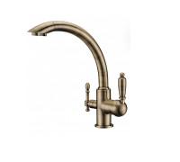Смеситель для кухни с питьевой водой Vatra TL-1517BR Aksy Bagno цвет бронза