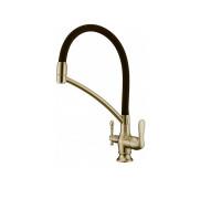 Смеситель для кухни с переключателем на питьевую воду, с съемным силиконовым шлангом Vatra TL-18023BR Aksy Bagno цвет бронза