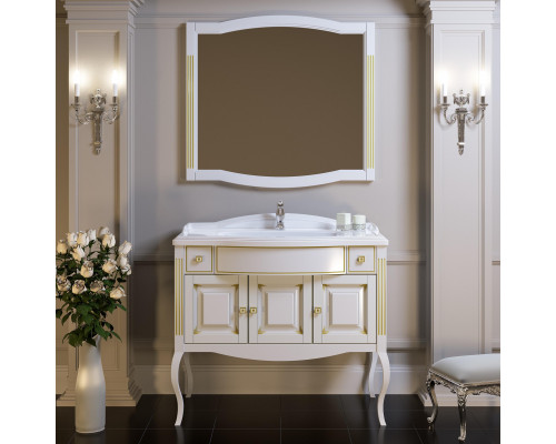 Комплект Opadiris Лаура 100 цвет белый мат с бежевой патиной Swarovski золото