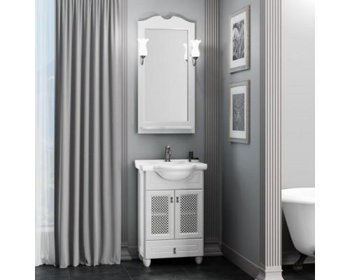 Комплект мебели для ванной комнаты Opadiris Тибет 50 см белый матовый (9003) с решёткой