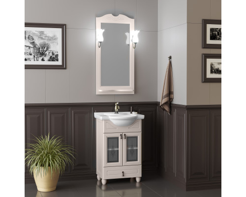 Комплект мебели для ванной комнаты Opadiris Тибет 50 см беленый бук weiss со стеклом