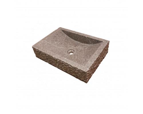 39500 Indo Prau Cream Раковина накладная, форма овал, материал мрамор, размер 50x35 см., цвет серый.