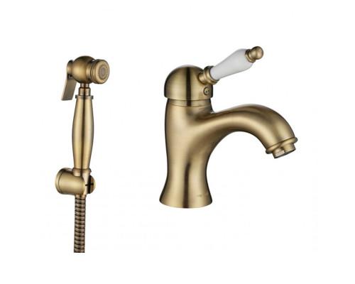 Biti-322-Bronze Aksy Bagno Biti Смеситель однорычажный для раковины с гигиеническим душем, бронза.