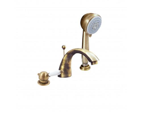 L569.5SSM RavSlezak Labe Смеситель термостат на борт ванны, на три отверстия, цвет бронза.