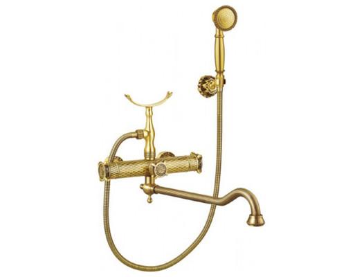 AZR 400 W-DN-1-3 BR Zorg Antique Смеситель вентильный для ванны с длинным изливом в бронзе.