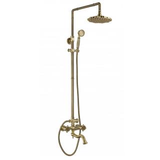 AZR 608 DS-1-6 BR Zorg Antique Душевая система с тропическим и ручным душем, бронза.