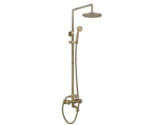 AZR 608 DS-2-12 BR Zorg Antique Душевая система с тропическим и ручным душем, бронза.