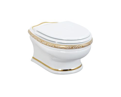 Унитаз подвесной Migliore Milady ML.MLD-25.740.D4.DO белый декор золото D4