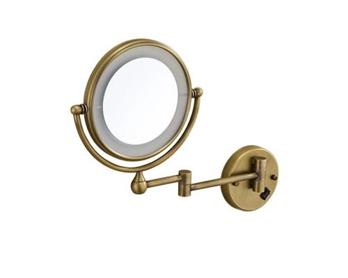 ZO-810.50 BR Zefaro Retro Зеркало для бритья с подсветкой по контуру, косметическое в бронзе.