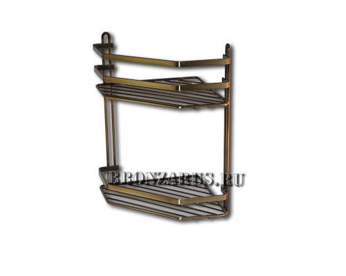 13800 Ritorio Classic Угловая полка, металл, двойная в бронзе