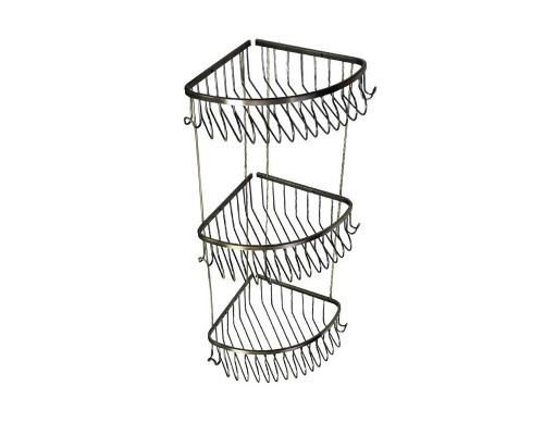35295 Sunmag Полка тройная угловая с двумя крючками, бронза.