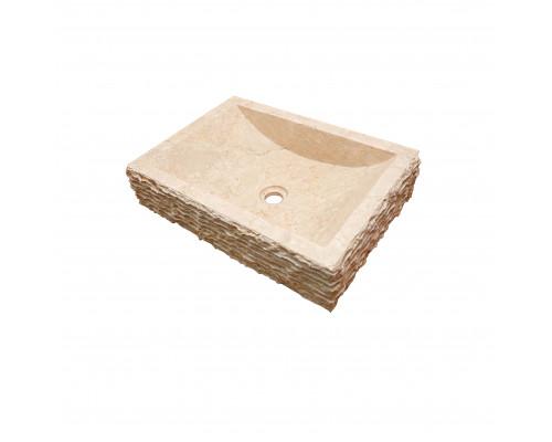 38500 Indo Prau Cream Раковина накладная, форма прямоугольник, материал мрамор, размер 50x35 см., цвет кремовый.