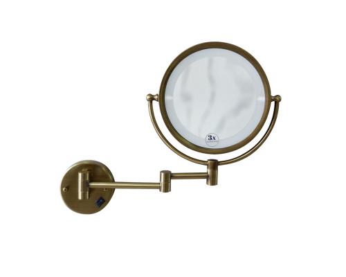 501 Boheme Medici Зеркало настенное с подсветкой, двустороннее, с увеличением, в бронзе.