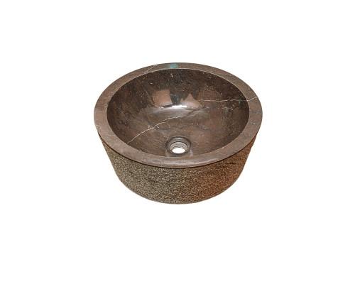50500 Indo Drip Black Раковина накладная, форма круглая, материал натуральный мрамор, размер 40x40 см., цвет черный.