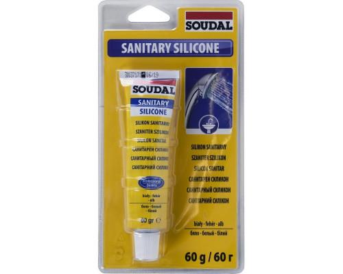 Герметик силикон санитарный белый 60 мл Soudal -