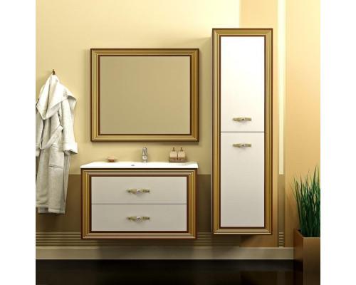 Комплект мебели Opadiris Карат 100 см цвет белый глянцевый золотая патина