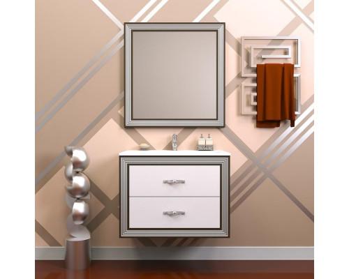 Комплект мебели Opadiris Карат 80 см цвет белый глянцевый серебряная патина