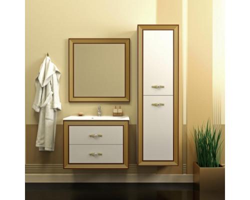 Комплект мебели Opadiris Карат 80 см цвет белый глянцевый золотая патина