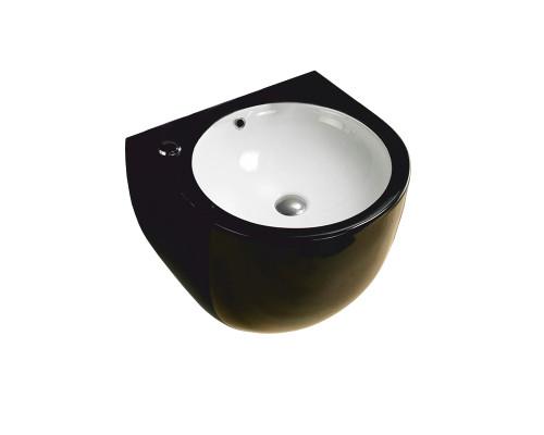 MLN-500FBW Melana Раковина подвесная, полукруглой формы, размер 49,5 см., черная внешняя часть, белая чаша.