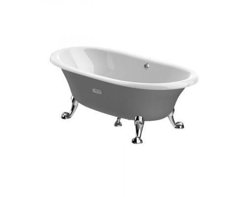 Овальная ванна цвет серый Roca Newcast с ножками Savanah / Lion цвет хром