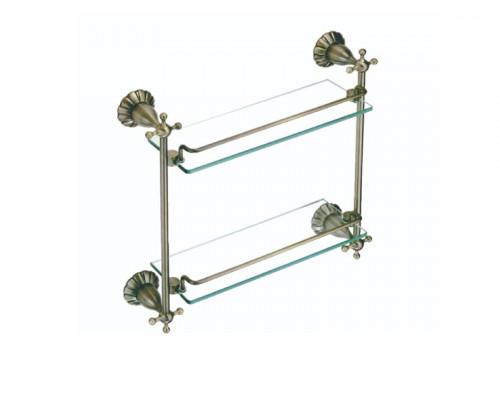 Полка прямая двойная стеклянная 40 см Savol серия 89C бронза