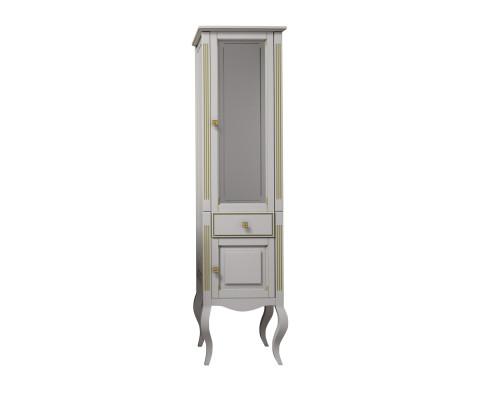 Шкаф-пенал Opadiris Лаура 45 R цвет белый матовый с бежевой патиной