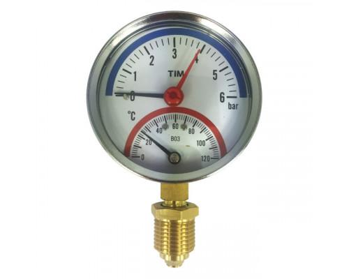 Термоманометр 10бар 120 С радиальный Tim