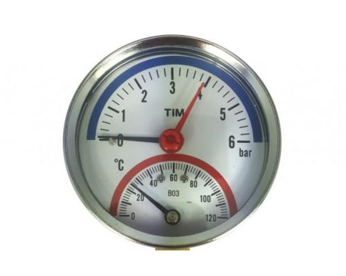 Термоманометр 4бар 120 С аксиальный  Tim