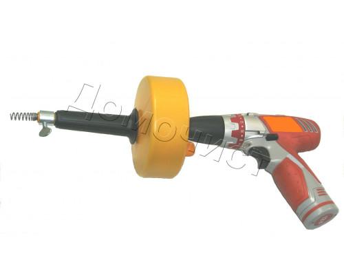 ВПД 6-5 Ручная прочистная вертушка с подключением шуруповерта, ЭКОНОМ, диаметр троса 6 мм, длина - 5 метра.