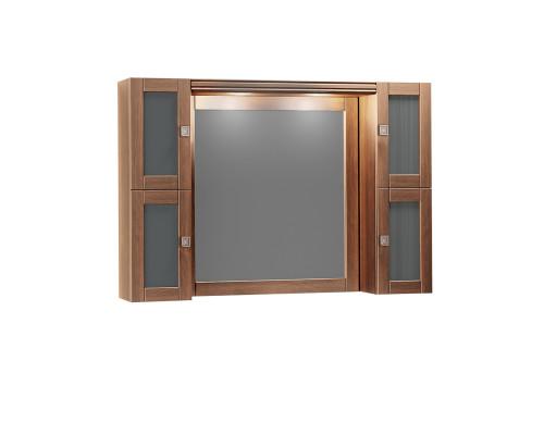 Зеркало Opadiris Мираж 120 с козырьком и шкафчиками цвет светлый орех